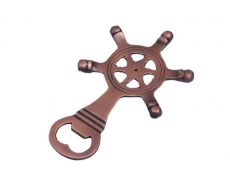 Antique Copper Ship Wheel Bottle Opener 5