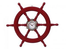 Deluxe Class Red Wood and Chrome Pirate Ship Wheel Clock 24