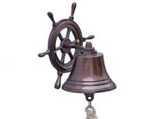 Antique Copper Hanging Ship Wheel Bell 7
