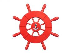 Red Decorative Ship Wheel With Anchor 9