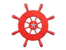 Red Decorative Ship Wheel With Starfish 9\