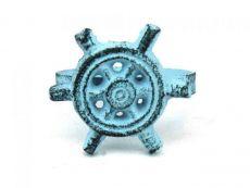 Dark Blue Whitewashed Cast Iron Ship Wheel Napkin Ring 2 - set of 2