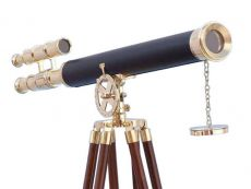Floor Standing Solid Brass - Leather Griffith Astro Telescope 64