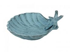 Dark Blue Whitewashed Cast Iron Shell With Starfish Decorative Bowl 6