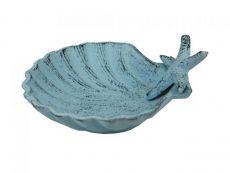 Dark Blue Whitewashed Cast Iron Shell With Starfish Decorative Bowl 6