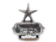 Rustic Silver Cast Iron Starfish Soap Dish 6
