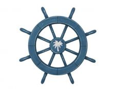 Rustic All Light Blue Decorative Ship Wheel With Palm Tree 18