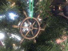 Antique Gold Cast Iron Ship Wheel Decorative Christmas Ornament 4