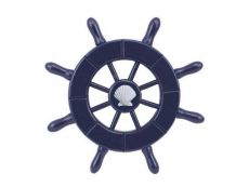 Dark Blue Decorative Ship Wheel With Seashell  6