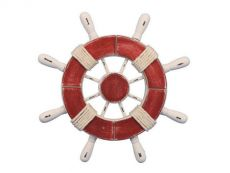 Rustic Red and White Decorative Ship Wheel 9