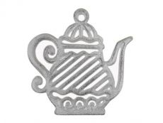 Whitewashed Cast Iron Teapot Trivet 9