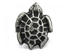 Antique Silver Cast Iron Turtle Decorative Napkin Ring 2 - set of 2