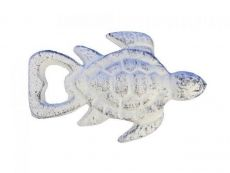 Whitewashed Cast Iron Turtle Bottle Opener 4.5