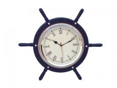 Dark Blue Wood And Chrome Ship Wheel Clock 15