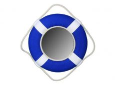 Vibrant Blue Decorative Lifering Mirror with White Bands 15