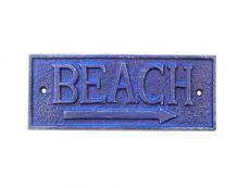 Rustic Dark Blue Cast Iron Beach Sign 9\