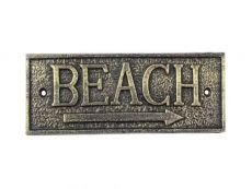 Rustic Gold Cast Iron Beach Sign 9