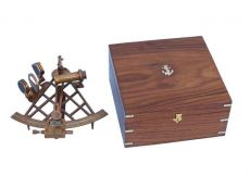 Admirals Antique Brass Sextant 12 with Rosewood Box