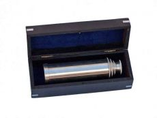 Deluxe Class Brushed Nickel Captains Spyglass Telescope 15 with Rosewood Box