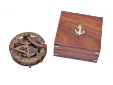 Antique Brass Round Sundial Compass with Rosewood Box 6