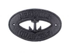 Rustic Black Cast Iron Mermaids Quarters with Anchor Sign 8