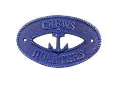 Rustic Dark Blue Cast Iron Crews Quarters with Anchor Sign 8