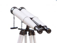 Floor Standing Admirals Oil-Rubbed Bronze-White Leather Binoculars 62