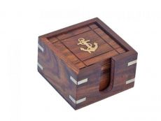 Wooden Anchor Coasters With Rosewood Holder 4 - Set of 6