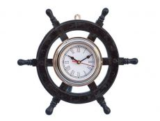 Deluxe Class Wood and Chrome Pirate Ship Wheel Clock 12\