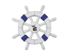 Rustic White Decorative Ship Wheel with Dark Blue Rope and Seagull 12