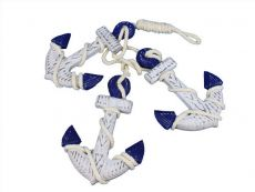 Wooden Rustic Decorative Blue Triple Anchor Set 7\