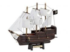 Wooden Ben Franklins Black Prince Model Pirate Ship with White Sails Christmas Ornament 7
