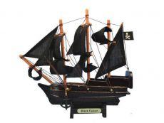 Wooden Captain Kidds Black Falcon Model Pirate Ship Christmas Ornament 7