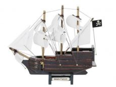 Wooden Captain Kidds Black Falcon Model Pirate Ship with White Sails Christmas Ornament 7