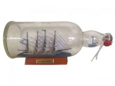 Blue Flying Cloud Ship in a Glass Bottle 11