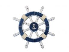 Rustic Dark Blue And White Decorative Ship Wheel With Anchor 12\