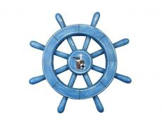 Rustic All Light Blue Decorative Ship Wheel With Seagull 12