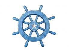 Rustic All Light Blue Decorative Ship Wheel With Starfish 12