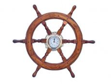 Deluxe Class Wood And Brass Ship Wheel Clock 24\