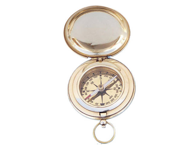 Solid Brass Captainandapos;s Push Button Compass 3