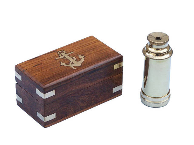 Deluxe Class Scoutandapos;s Brass Spyglass Telescope 7 w- Rosewood Box