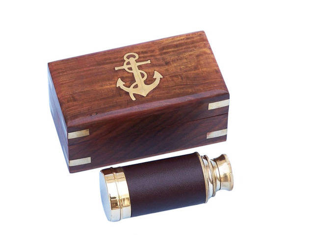 Deluxe Class Scoutandapos;s Brass - Leather Spyglass Telescope 7 w- Rosewood Box