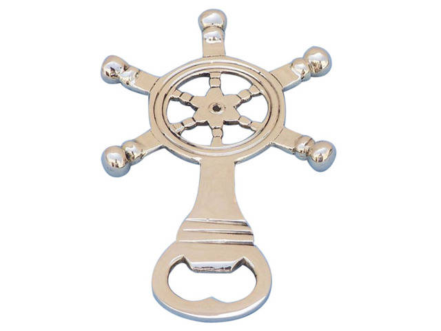 Solid Brass Ship Wheel Bottle Opener 5