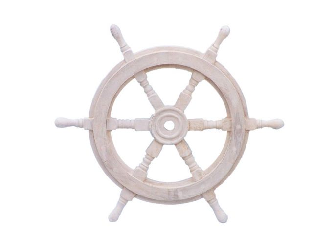 Classic Wooden Whitewashed Decorative Ship Steering Wheel 18