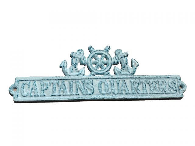 Dark Blue Whitewashed Cast Iron Captains Quarters Sign with Ship Wheel and Anchors 9