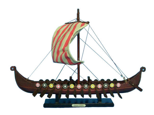 Wooden Viking Drakkar Model Boat 14