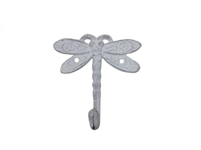 Whitewashed Cast Iron Dragonfly Decorative Metal Wall Hook 5