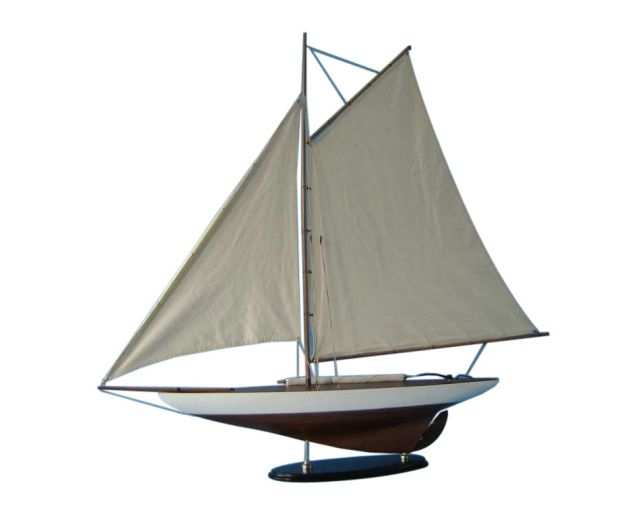 Wooden Americas Cup Contender Model Sailboat Decoration 40