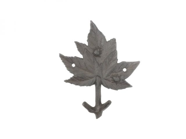 Cast Iron Maple Tree Leaf Decorative Metal Tree Branch Hook 6.5