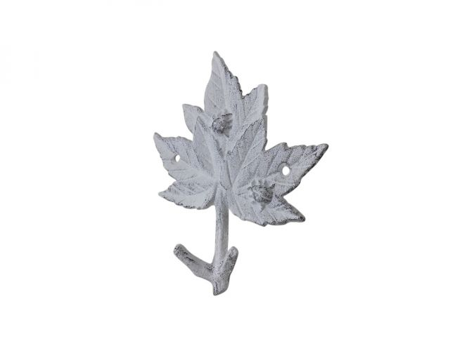 Whitewashed Cast Iron Maple Tree Leaves Decorative Metal Tree Branch Hooks 6.5